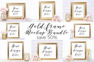 50% Off Gold Frame Mockup Bundle