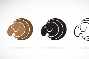Vector of goat head design. Animal.