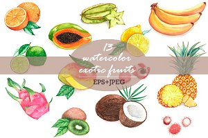 Exotic Watercolor Fruits