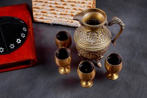 Pesach Passover symbols of holiday.