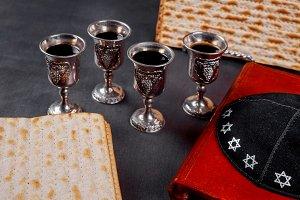 Red kosher wine four of matzah