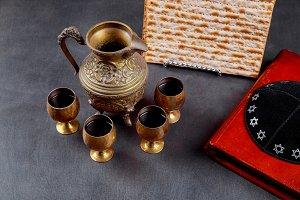 Passover background. wine and matzoh