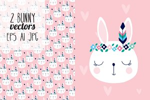 2 bunny animal vectors
