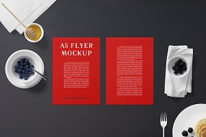 A5 Flyer Mockup - Breakfast Set