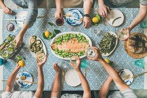 Mediterranean style dinner with
