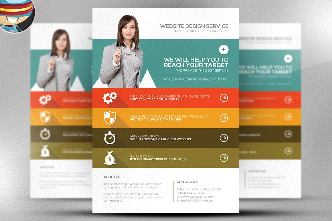 computer service flyer template photos graphics fonts themes flat style web agency flyer template