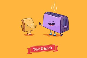 Best friends. Vector cartoons.
