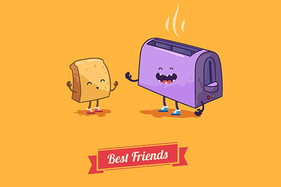 Best Friends Vector Cartoons Illustrations Creative Market