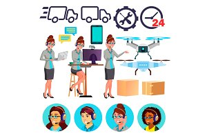 Delivery Service Icons Vector. Drone