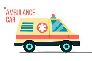 Ambulance Car Vector. Emergency