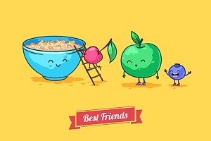 Fruit diet. Vector funny cartoons