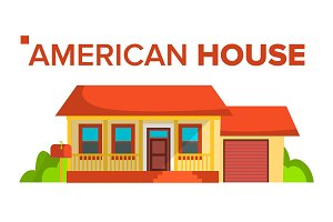 American House Building Vector