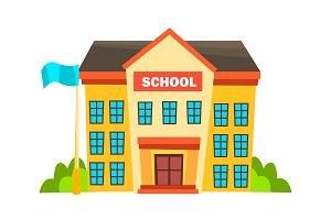 School Building Vector. Modern City