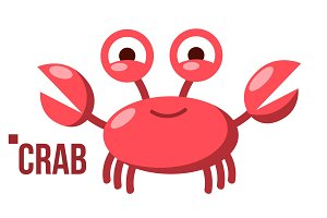 Funny Crab Vector. Icon. Shelf Red