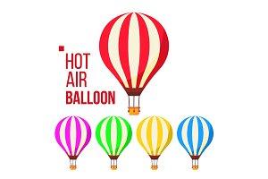 Hot Air Balloon Vector. Sky Travel