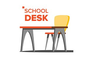 School Desk Vector. Empty Table