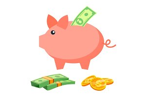 Piggy Bank Vector. Coins, Bills