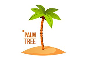 Palm Tree Vector. Green Leaf