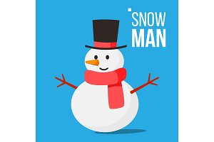 Snow Man Vector. Winter Fun Activity