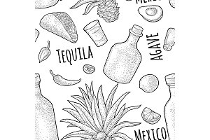 Seamless pattern tequila