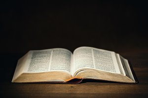 Holy Bible on a desk