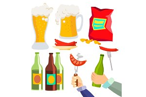 Beer Party Vector. Alcohol Drink