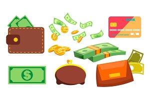 Wallet, Money, Coins Vector. Purse