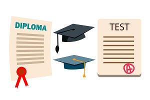 Diploma, Cap Vector. Graduation