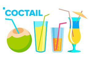 Coctail Icons Set Vector. Summer