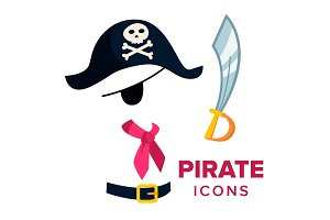 Pirate Icons Vector. Accessories Hat