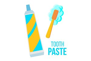 Tooth Paste, Brush Vector. Child