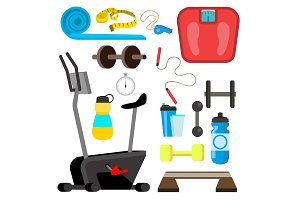 Fitness Icons Vector. Simulator