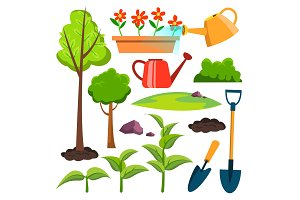 Garden Icons Vector. Watering Can