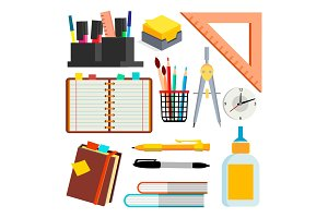 Stationery Icons Vector. Pen, Pencil