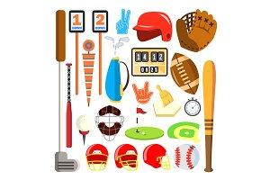 Sport Icons Vector. Baseball, Golf