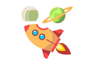 Rocket Space Icons Vector. Spaceship