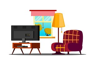 Home Interior Vector. Living Room