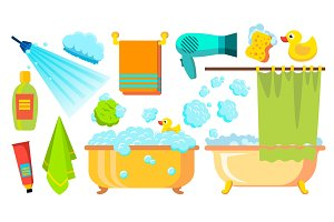 Take A Shower, Bath Icons Vector