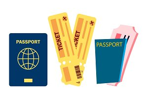 Passport And Airplane Tickets Vector