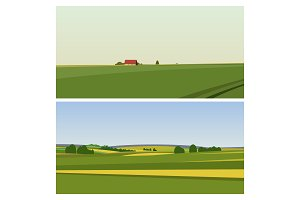Two Green landscape with fields