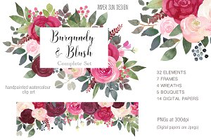 Burgundy and Blush Clipart Set
