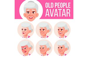 Old Woman Avatar Set Vector. Face