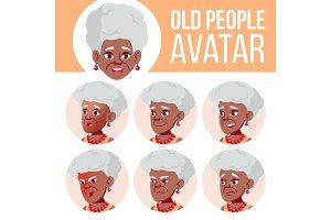 Old Woman Avatar Set Vector. Black
