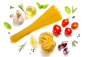 Italian cuisine concept - raw pasta