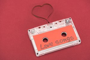 close up view of audio cassette with