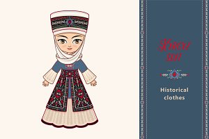The doll in Kyrgyz dress.