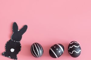 Easter composition with eggs and the