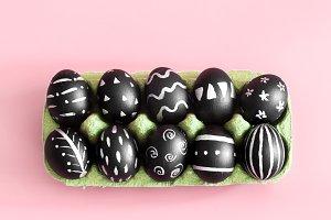 Easter eggs in black