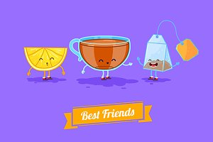 Funny cup, lemon and teabag. Vector