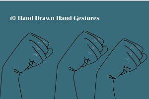 10 Hand Drawn Hand Gestures